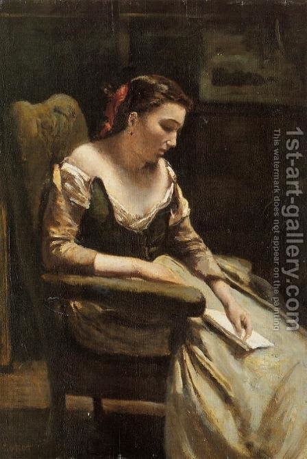 The Letter by Jean-Baptiste-Camille Corot - Reproduction Oil Painting