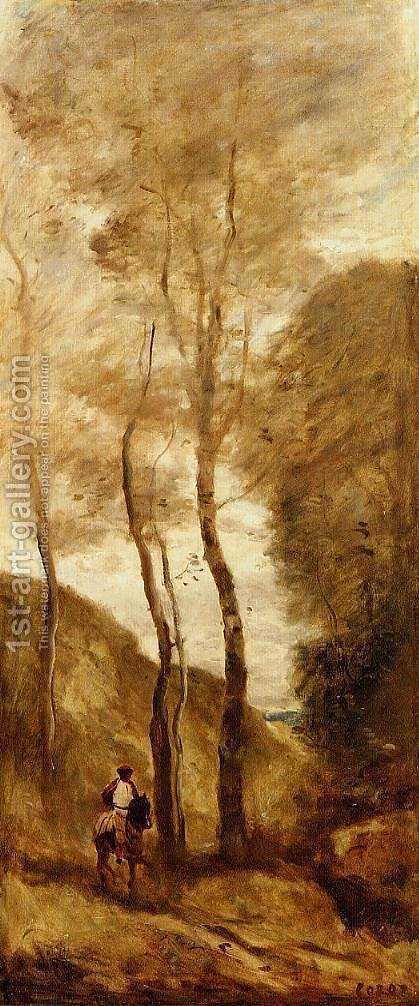 Jean-Baptiste-Camille Corot: Horse and Rider in a Gorge - reproduction oil painting