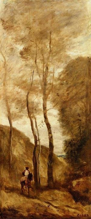 Reproduction oil paintings - Jean-Baptiste-Camille Corot - Horse and Rider in a Gorge