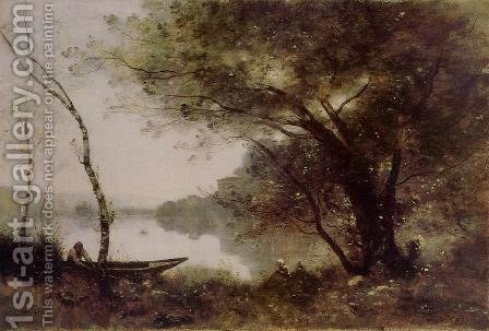 The Boatmen of Mortefontaine by Jean-Baptiste-Camille Corot - Reproduction Oil Painting