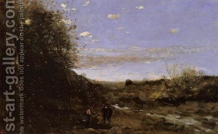 Jean-Baptiste-Camille Corot: Hamlet and the Gravedigger - reproduction oil painting