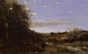 Reproduction oil paintings - Jean-Baptiste-Camille Corot - Hamlet and the Gravedigger