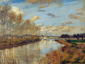 Famous paintings of Clouds & Skyscapes: Argenteuil, Seen from the Small Arm of the Seine