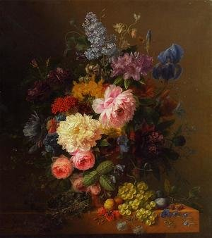 Peonies, Roses, Irises, Lilies, Lilac and Other Flowers in a Vase on a Ledge Laden with Fruit