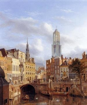 Famous paintings of Ships & Boats: The Oudegracht with a View of the Old Town Hall and the Dom Tower beyond, Utrecht