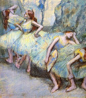 Famous paintings of Fans: Ballet Dancers in the Wings