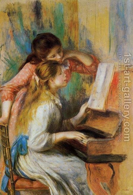 Girls at the Piano I by Pierre Auguste Renoir - Reproduction Oil Painting