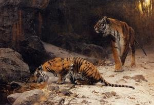 Famous paintings of Nautical: Tigers at a Drinking Pool