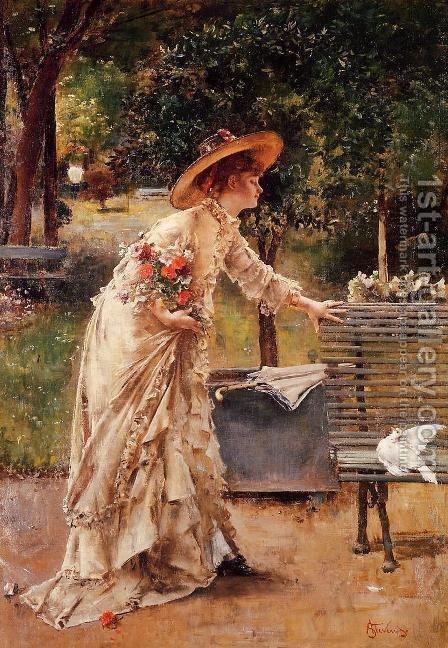 Afternoon in the Park by Alfred-Emile-Leopole Stevens - Reproduction Oil Painting