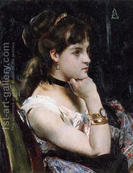 Woman Wearing a Bracelet by Alfred-Emile-Leopole Stevens - Reproduction Oil Painting