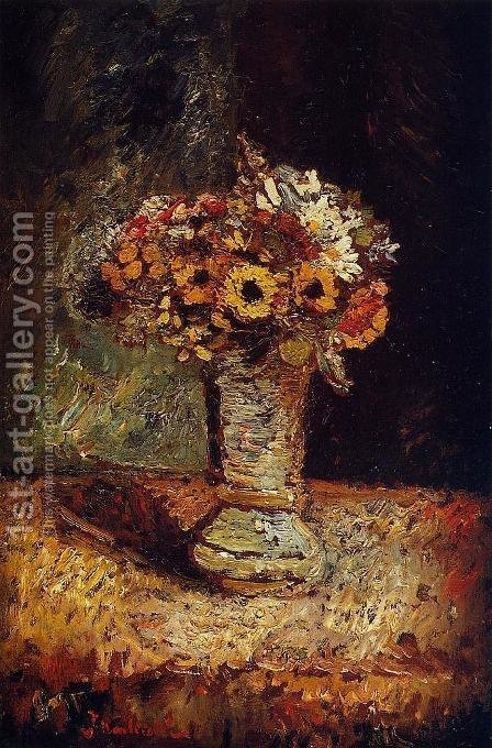 Flowers in a Vase by Adolphe Joseph Thomas Monticelli - Reproduction Oil Painting