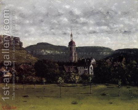 View of Ornans and Its Church Steeple by Gustave Courbet - Reproduction Oil Painting