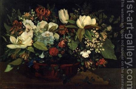 Basket of Flowers by Gustave Courbet - Reproduction Oil Painting