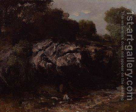 Rocky Landscape with Figure by Gustave Courbet - Reproduction Oil Painting