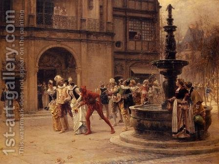 The Carnival Procession by Adrien Moreau - Reproduction Oil Painting