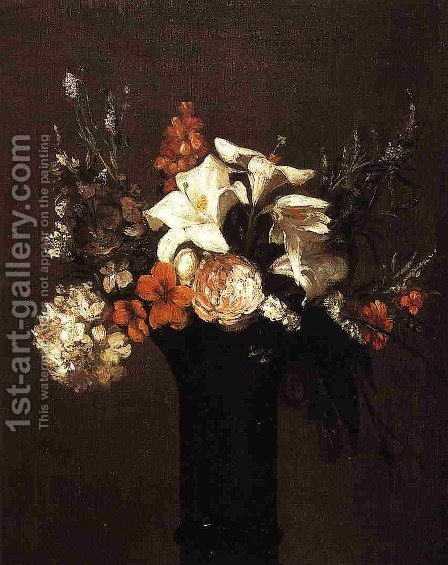 Flowers I by Ignace Henri Jean Fantin-Latour - Reproduction Oil Painting