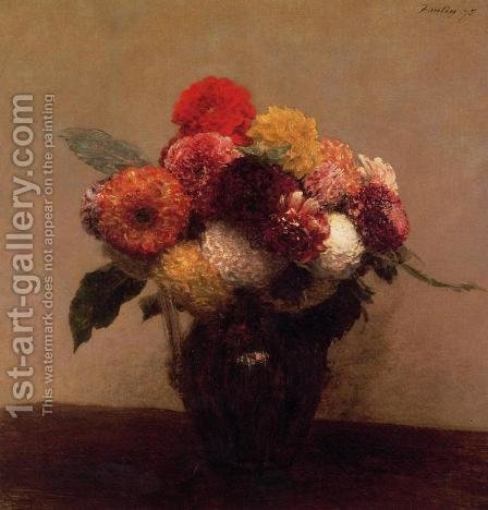 Dahlias, Queens Daisies, Roses and Corn Flowers I by Ignace Henri Jean Fantin-Latour - Reproduction Oil Painting