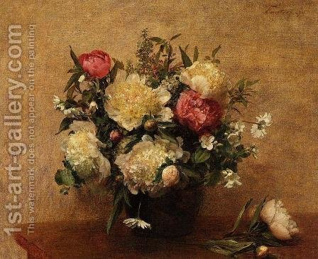 Peonies by Ignace Henri Jean Fantin-Latour - Reproduction Oil Painting