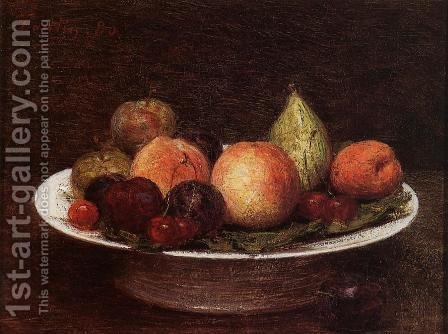 Plate of Fruit by Ignace Henri Jean Fantin-Latour - Reproduction Oil Painting