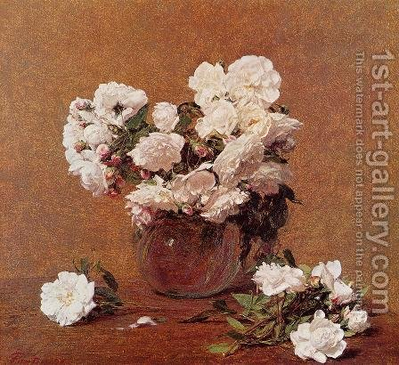 Roses II by Ignace Henri Jean Fantin-Latour - Reproduction Oil Painting