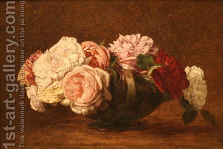 Roses in a Bowl by Ignace Henri Jean Fantin-Latour - Reproduction Oil Painting