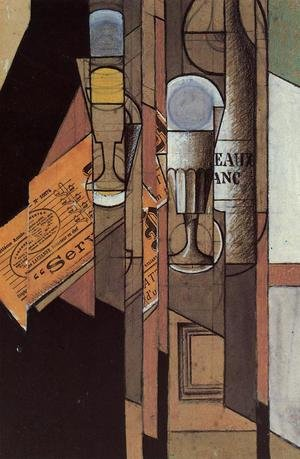 Reproduction oil paintings - Juan Gris - Glasses, Newspaper and Bottle of Wine