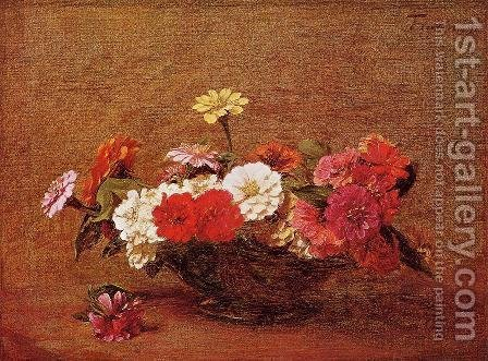Zinnias I by Ignace Henri Jean Fantin-Latour - Reproduction Oil Painting