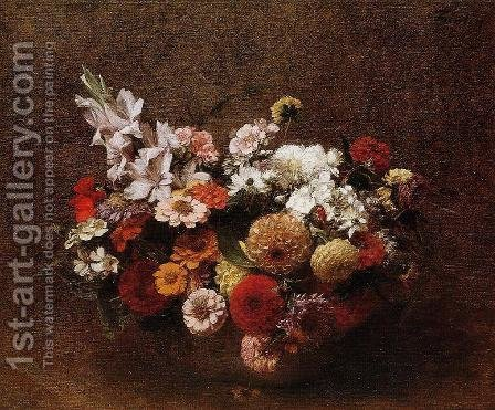 Bouquet of Flowers II by Ignace Henri Jean Fantin-Latour - Reproduction Oil Painting