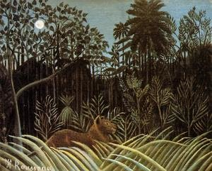 Famous paintings of Rainforests & Jungles: Jungle with Lion