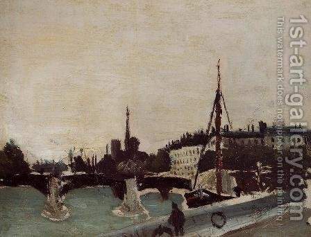 View of the Ile Saint-Louis from the Quai Henri IV (study) by Henri Julien Rousseau - Reproduction Oil Painting