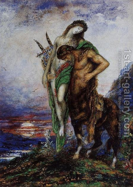 A Dead Poet being Carried by a Centaur by Gustave Moreau - Reproduction Oil Painting