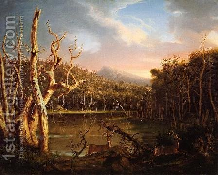 Thomas Cole: Lake with Dead Trees - reproduction oil painting