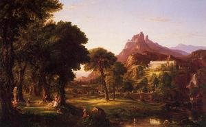 Famous paintings of Mountains and Cliffs: Dream of Arcadia