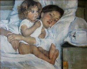 Mary Cassatt reproductions - Breakfast in Bed