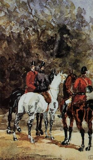Famous paintings of Horses & Horse Riding: Assembly of Hunters