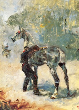 Reproduction oil paintings - Toulouse-Lautrec - Artilleryman Saddling His Horse