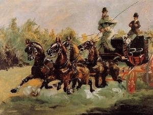 Reproduction oil paintings - Toulouse-Lautrec - Alphonse de Toulouse-Lautrec Driving His Four-in-Hand