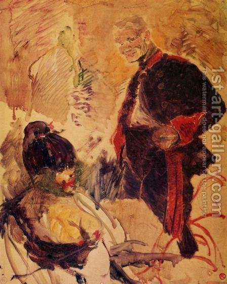 Artillerman and Girl by Toulouse-Lautrec - Reproduction Oil Painting