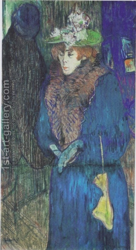 Jane Avril Entering the Moulin Rouge by Toulouse-Lautrec - Reproduction Oil Painting