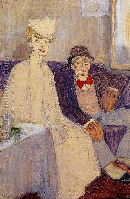 Jules Pascin: Odd Couple in a Waiting Room - reproduction oil painting