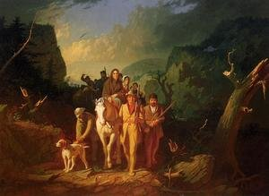 Famous paintings of Horses & Horse Riding: The Emigration of Daniel Boone