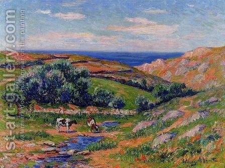 A Valley in Sadaine, the Bay of Douarnenez by Henri Moret - Reproduction Oil Painting