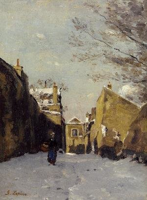 Reproduction oil paintings - Stanislas Lepine - Street in Montmartre, Snow Effect
