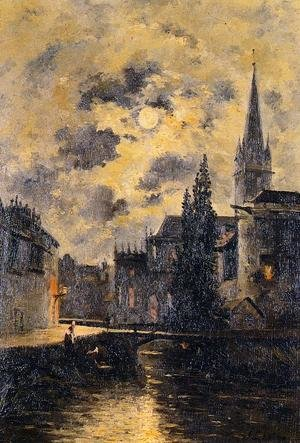 Reproduction oil paintings - Stanislas Lepine - A Moonlit Canal