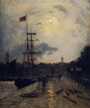 Reproduction oil paintings - Stanislas Lepine - A Quay at Caen