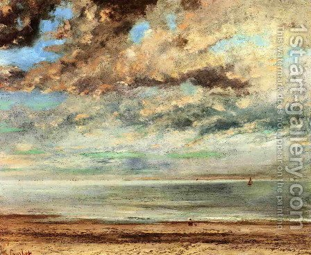 The Beach, Sunset by Gustave Courbet - Reproduction Oil Painting