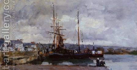 The Port of Rouen, Grey Weather by Albert Lebourg - Reproduction Oil Painting