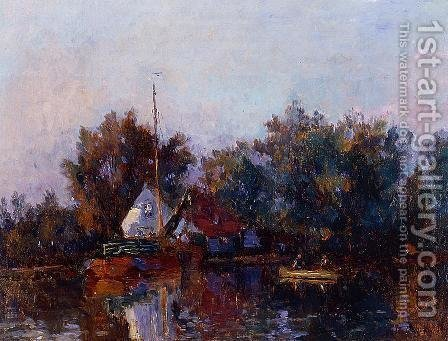 Canal in Holland near Rotterdam by Albert Lebourg - Reproduction Oil Painting