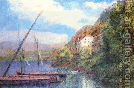 The Shores of Lake Geneva at Saint-Gingolph by Albert Lebourg - Reproduction Oil Painting