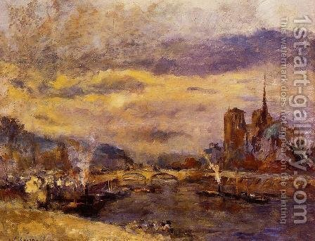 Paris, the Seine and Notre-Dame by Albert Lebourg - Reproduction Oil Painting